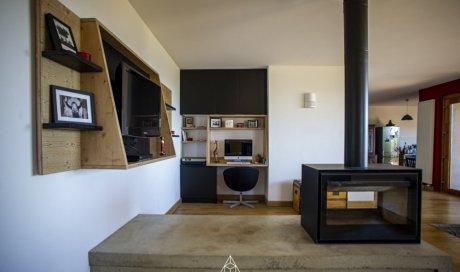 salon bureau bois agencement